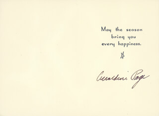 GERALDINE PAGE - CHRISTMAS / HOLIDAY CARD SIGNED