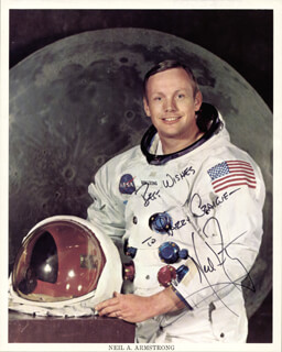 NEIL ARMSTRONG - INSCRIBED PRINTED PHOTOGRAPH SIGNED IN INK - HFSID 102113