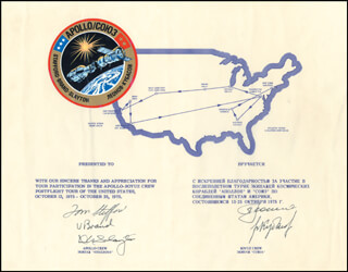 APOLLO - SOYUZ CREW - DIPLOMATIC APPOINTMENT SIGNED 10/1975 CO-SIGNED BY: VALERI N. KUBASOV, MAJOR GENERAL ALEXEI LEONOV, LT. GENERAL THOMAS P. STAFFORD, MAJOR DONALD DEKE SLAYTON, VANCE BRAND