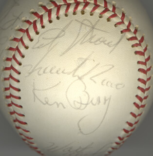 Autographs: THE CHICAGO WHITE SOX - BASEBALL SIGNED CIRCA 1971 CO-SIGNED BY: LUKE APPLING, TOMMY JOHN, TOM BRADLEY, ED THE CREEPER STROUD, WALT NO-NECK WILLIAMS, LUIS CESAR PIMBA ALVARADO, LEE BEE-BEE RICHARD, VICENTE ROMO, WILBUR WOOD, KEN BERRY, RICH McKINNEY, RICK (FREDERIC CARL) REICHARDT, DON EDDY