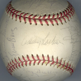 THE CHICAGO CUBS - AUTOGRAPHED SIGNED BASEBALL CIRCA 1971 CO-SIGNED BY: BILLY WILLIAMS, BOB LOCKER, RICK BIG DADDY REUSCHEL, RON SANTO, DON KESSINGER, RANDY HUNDLEY, PATRICK D. BOURQUE, CLEO JAMES, ERNIE MR. CUB BANKS, BURT HAPPY HOOTON, CARMEN R. FANZONE, JIM HICKMAN, GENE HISER, GLENN BECKERT, RAY BURRIS, ADRIAN PAT GARRETT, LARRY GURA, KEN RUDOLPH, WHITEY LOCKMAN, JIM COLBORN, MILT GIMPY PAPPAS, RICK MONDAY, BILL BONHAM, FERGUSON JENKINS, PAUL POPOVICH