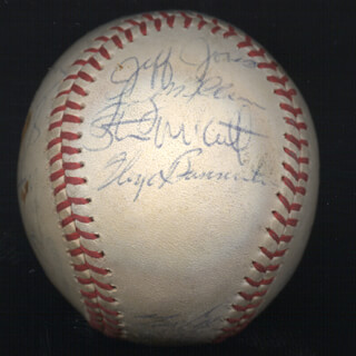 THE SEATTLE MARINERS - AUTOGRAPHED SIGNED BASEBALL CIRCA 1980 CO-SIGNED BY: SHANE RAWLEY, RICK HONEYCUTT, MARIO MENDOZA, BRUCE BOCHTE, LARRY EUGENE COX, JEFF JONES, FLOYD BANNISTER, JOE SIMPSON, MIKE PARROTT, LARRY MILBOURNE, DAN MEYER, BILL STEIN, LEON ROBERTS, BOB STINSON