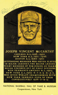 JOE MCCARTHY - BASEBALL HALL OF FAME PLAQUE POSTCARD SIGNED 02/22/1971