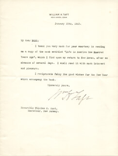 PRESIDENT WILLIAM H. TAFT - TYPED LETTER SIGNED 01/10/1915