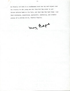 MARY PICKFORD - TYPED MANUSCRIPT SIGNED