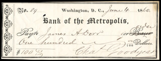 CHARLES GOODYEAR - AUTOGRAPHED SIGNED CHECK 06/04/1860