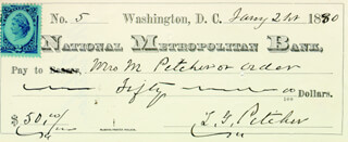BRIGADIER GENERAL THOMAS G. PITCHER - AUTOGRAPHED SIGNED CHECK 01/21/1880