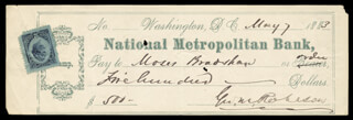 GEORGE M. ROBESON - AUTOGRAPHED SIGNED CHECK 05/07/1883