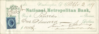 REAR ADMIRAL THORNTON A. JENKINS - AUTOGRAPHED SIGNED CHECK 04/03/1879