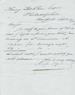 AUGUST BELMONT SR. - MANUSCRIPT LETTER SIGNED 09/20/1850