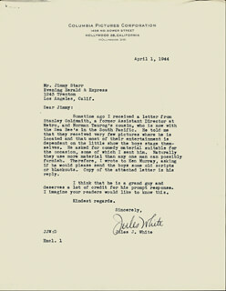 JULES J. WHITE - TYPED LETTER SIGNED 04/01/1944
