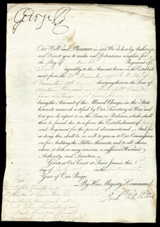 KING GEORGE III (GREAT BRITAIN) - DOCUMENT SIGNED 07/02/1806 CO-SIGNED BY: RICHARD FITZPATRICK
