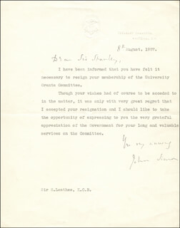 VISCOUNT JOHN ALLSEBROOK 1ST VISCOUNT SIMON SIMON - TYPED LETTER SIGNED 08/08/1937