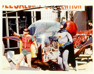 BATMAN TV CAST - AUTOGRAPHED SIGNED PHOTOGRAPH CO-SIGNED BY: BURT WARD, ADAM WEST