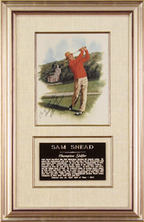 SAM SLAMMING SAMMY SNEAD - INSCRIBED ILLUSTRATION SIGNED
