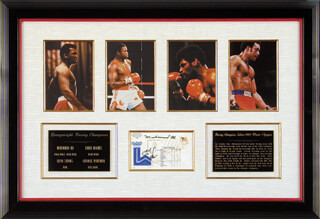 MUHAMMAD THE GREATEST ALI - COMMEMORATIVE ENVELOPE SIGNED CO-SIGNED BY: GEORGE FOREMAN, LEON SPINKS, LARRY HOLMES