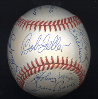 DUKE SNIDER - AUTOGRAPHED SIGNED BASEBALL CO-SIGNED BY: BILLY WILLIAMS, HARMON KILLEBREW, RAY DANDRIDGE, ERNIE MR. CUB BANKS, BOB FELLER, JOHNNY MIZE, LOU BOUDREAU, LOU BROCK, FRANK ROBINSON, BOB LEMON, ENOS SLAUGHTER, BOBBY DOERR, WILLIE STARGELL, SANDY KOUFAX, AL MR. TIGER KALINE, ROBIN ROBERTS