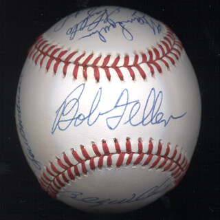 Autographs: WILLIE STARGELL - BASEBALL SIGNED CO-SIGNED BY: BILLY WILLIAMS, BOB FELLER, JOHNNY MIZE, LOU BOUDREAU, LOU BROCK, FRANK ROBINSON, BOB LEMON, ENOS SLAUGHTER, WARREN SPAHN, BOBBY DOERR, SANDY KOUFAX, AL MR. TIGER KALINE, ROBIN ROBERTS, DUKE SNIDER