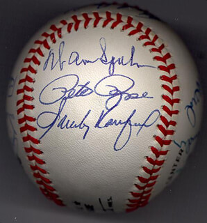 Autographs: BOBBY DOERR - BASEBALL SIGNED CO-SIGNED BY: BOB FELLER, JOHNNY MIZE, STAN THE MAN MUSIAL, LOU BOUDREAU, BOB LEMON, WARREN SPAHN, WILLIE STARGELL, PETE ROSE, SANDY KOUFAX, AL MR. TIGER KALINE, ROBIN ROBERTS, DUKE SNIDER