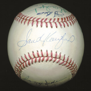 Autographs: YOGI BERRA - BASEBALL SIGNED CO-SIGNED BY: GAYLORD PERRY, HARMON KILLEBREW, ERNIE MR. CUB BANKS, REGGIE MR. OCTOBER JACKSON, WARREN SPAHN, PETE ROSE, SANDY KOUFAX, WILLIE SAY HEY KID MAYS, DUKE SNIDER