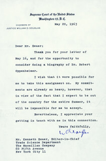 Autographs: ASSOCIATE JUSTICE WILLIAM O. DOUGLAS - TYPED LETTER SIGNED 05/20/1963
