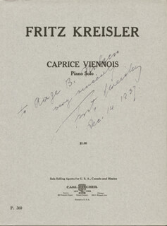 FRITZ KREISLER - INSCRIBED MUSICAL SCORE SIGNED 12/14/1937