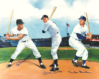 MICKEY MANTLE - PRINTED ART SIGNED IN INK CO-SIGNED BY: WILLIE SAY HEY KID MAYS, DUKE SNIDER