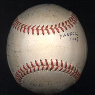 THE NEW YORK YANKEES - AUTOGRAPHED SIGNED BASEBALL CIRCA 1948 CO-SIGNED BY: ALLIE REYNOLDS, GEORGE McQUINN, CHARLIE KING KONG KELLER, FRANK CROSETTI, JOHNNY SCHULTE, RED (CHARLES WILLARD) EMBREE, VIC RASCHI, TOMMY BYRNE, BOB PORTERFIELD, BILLY BULL JOHNSON, FRANK DUTCH HILLER, SNUFFY (GEORGE HENRY) STIRNWEISS, JOE DIMAGGIO, PHIL RIZZUTO, EDDIE LOPAT, BUCKY HARRIS, JOE PAGE, SHERM LOLLAR, HANK BAUER, BOBBY BROWN