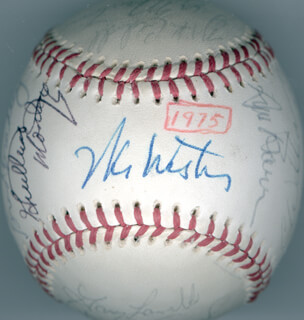 THE SAN FRANCISCO GIANTS - AUTOGRAPHED SIGNED BASEBALL 1975 CO-SIGNED BY: BRUCE MILLER, DERREL O. THOMAS, GARY L. THOMASSON, JAKE BROWN, GARY LAVELLE, JOHN THE COUNT MONTEFUSCO, BRAD BRADLEY, MIKE IRON MIKE CALDWELL, GREG MOON MAN MINTON, WILLIE MONTANEZ, VON JOSHUA, ED HALICKI, WES WESTRUM, JIM BARR, ROB DRESSLER, GARY MATTHEWS, SR., RANDY MOFFITT, DAVE HEAVERLO, STEVE ONTIVEROS, CHARLIE WILLIAMS, PETE FALCONE, CHRIS SPEIER, DAVE RADER