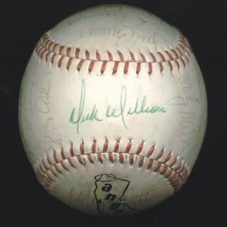 Autographs: THE CALIFORNIA ANGELS - BASEBALL SIGNED CIRCA 1975 CO-SIGNED BY: BOBBY VALENTINE, DICK WILLIAMS, ED FIGGY FIGUEROA, BRUCE BOCHTE, RUDY MEOLI, MICKEY RIVERS, LEROY B. LEE STANTON, CHUCK HOCKENBERY, DICK LANGE, IKE HAMPTON, MICKEY SCOTT, JIM BREWER, MORRIS NETTLES JR., ADRIAN PAT GARRETT, ANDY HASSLER, JERRY REMY, BILL SINGER, DON KIRKWOOD, DAVE CHALK, NOLAN RYAN
