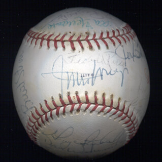 WILLIE SAY HEY KID MAYS - INSCRIBED BASEBALL SIGNED CIRCA 1977 CO-SIGNED BY: DAVE WINFIELD, BRENT STROM, GENE TENACE, JOEY AMALFITANO, BILL ALMON, GENE RICHARDS, ALAN FOSTER, RANDY JONES, DON NEWK NEWCOMBE, PEE WEE REESE, DOLPH CAMILLI, DAVE TOMLIN, DON WILLIAMS