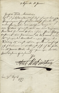 ANTON RUBINSTEIN - AUTOGRAPH LETTER SIGNED 04/30/1877