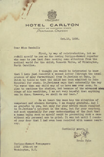 ERNIE PYLE - TYPED LETTER SIGNED 10/15/1936