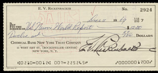 MAJOR EDWARD V. EDDIE RICKENBACKER - AUTOGRAPHED SIGNED CHECK 12/11/1969