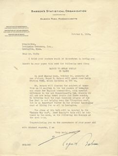 ROGER BABSON - TYPED LETTER SIGNED 10/09/1934