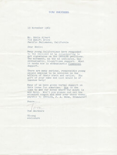 SMOTHERS BROTHERS (TOM SMOTHERS) - TYPED LETTER SIGNED 11/19/1969