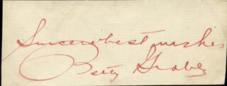 BETTY GRABLE - AUTOGRAPH SENTIMENT SIGNED