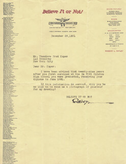ROBERT BELIEVE IT OR NOT! RIPLEY - TYPED LETTER SIGNED 12/29/1931