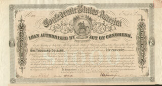 Autographs: THE CONFEDERATE STATES - BOND SIGNED 03/01/1864 CO-SIGNED BY: C. A. ROSE