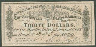 THE CONFEDERATE STATES - ANNOTATED COUPON UNSIGNED 02/17/1864