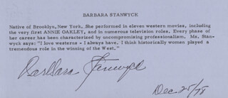 BARBARA STANWYCK - BIOGRAPHY SIGNED 12/25/1978