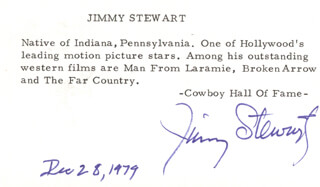 JAMES JIMMY STEWART - BIOGRAPHY SIGNED 12/28/1979