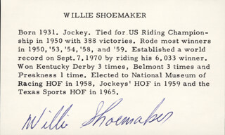 WILLIE SHOEMAKER - BIOGRAPHY SIGNED