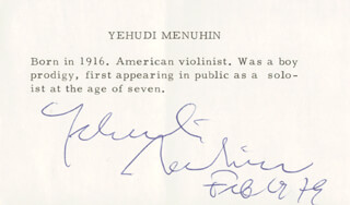 Autographs: YEHUDI MENUHIN - BIOGRAPHY SIGNED 2/1979