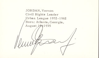 VERNON E. JORDAN JR. - PRINTED CARD SIGNED IN INK