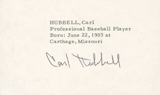 CARL HUBBELL - AUTOGRAPH  - HFSID 1090