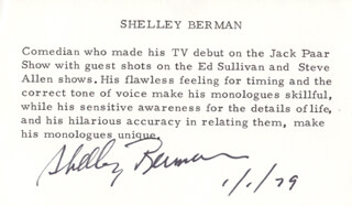 SHELLEY BERMAN - PRINTED CARD SIGNED IN INK 01/01/1979