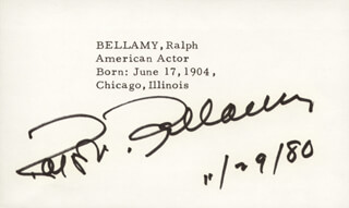 RALPH BELLAMY - PRINTED CARD SIGNED IN INK 11/29/1980