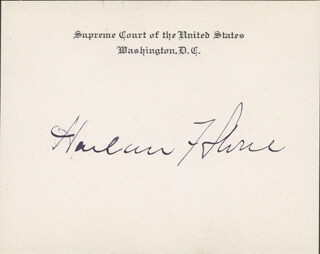 Autographs: CHIEF JUSTICE HARLAN F. STONE - SUPREME COURT CARD SIGNED