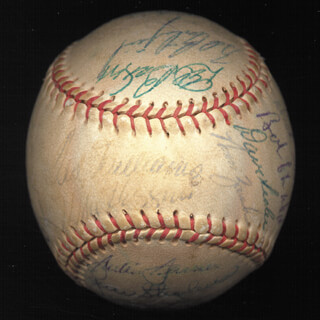 Autographs: BOSTON RED SOX - BASEBALL SIGNED CIRCA 1957 CO-SIGNED BY: DAVE SISLER, MIKE F. PINKY HIGGINS, DEAN STONE, MEL PARNELL, JIMMY PIERSALL, GEORGE D. SUSCE, BILLY CONSOLO, BILLY KLAUS, SAMMY WHITE, TOM BREWER, DICK GERNERT, JACKIE JENSEN, TED LEPCIO, RUDY A. BUSTER MINARCIN, WILLARD NIXON, IKE DELOCK, BOB PORTERFIELD, PETE DALEY, NORM AUCHIN, BOB CHICK CHAKALES, FRANK MALZONE, GENE SKIP MAUCH, TED WILLIAMS, BILL GOODMAN, MICKEY VERNON, GENE STEPHENS
